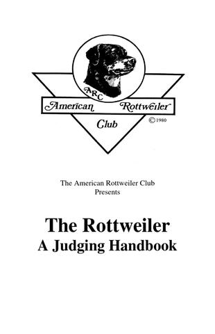 The Rottweiler – A Judging Handbook
